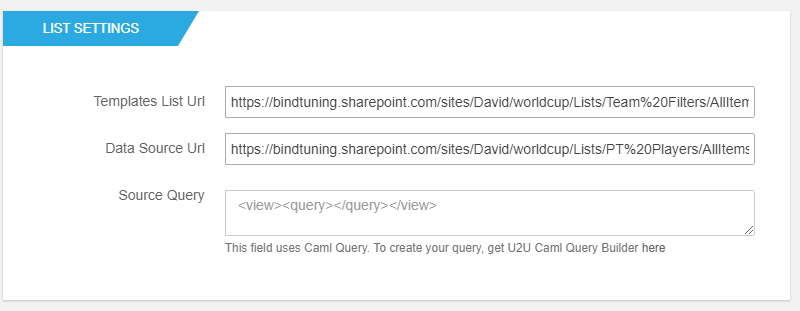 List Settings - BindTuning SharePoint Filters Web Part